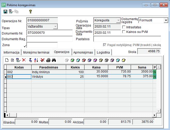 prekybos išlaidų valdymo sistema prekybos sistemos funkciniai reikalavimai
